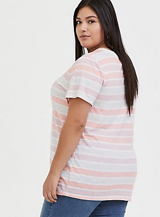 Classic Fit Crew Tee - Vintage Burnout Multi Stripe Pink, STRIPE - MULTICOLOR, alternate