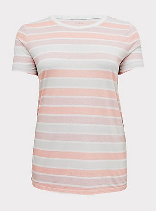 Classic Fit Crew Tee - Vintage Burnout Multi Stripe Pink, STRIPE - MULTICOLOR, flat
