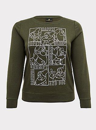 Disney Snow White and the Seven Dwarfs Olive Green Sweatshirt, DEEP DEPTHS, flat