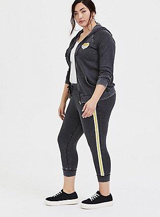 Plus Size Black Burnout Fleece Rainbow Stripe Crop Jogger, DEEP BLACK, alternate