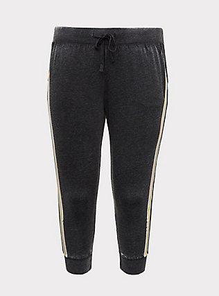 Plus Size Black Burnout Fleece Rainbow Stripe Crop Jogger, DEEP BLACK, flat