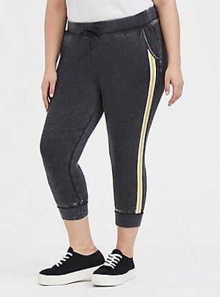 Plus Size Black Burnout Fleece Rainbow Stripe Crop Jogger, DEEP BLACK, hi-res