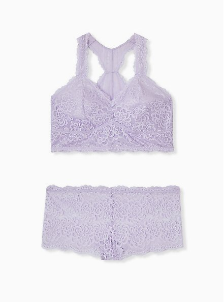 Lilac Purple Unlined Racerback Bralette, CLOUDED OPAL LAVENDER, alternate