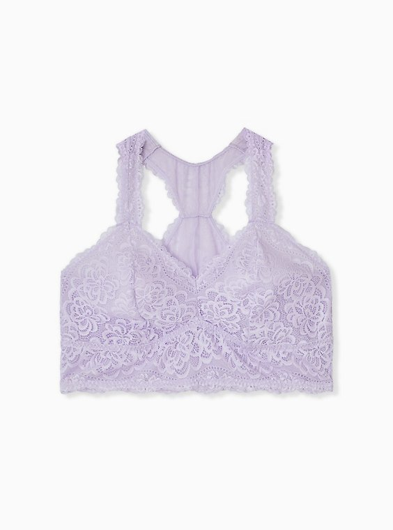 Lilac Purple Unlined Racerback Bralette, , hi-res