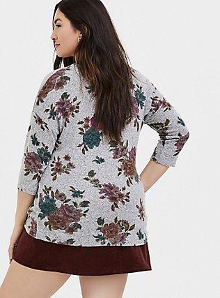 Super Soft Plush Grey Floral Top, FLORAL - GREY, alternate