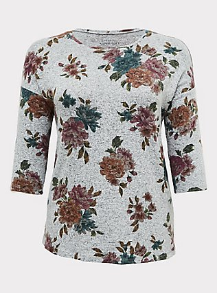 Super Soft Plush Grey Floral Top, FLORAL - GREY, flat