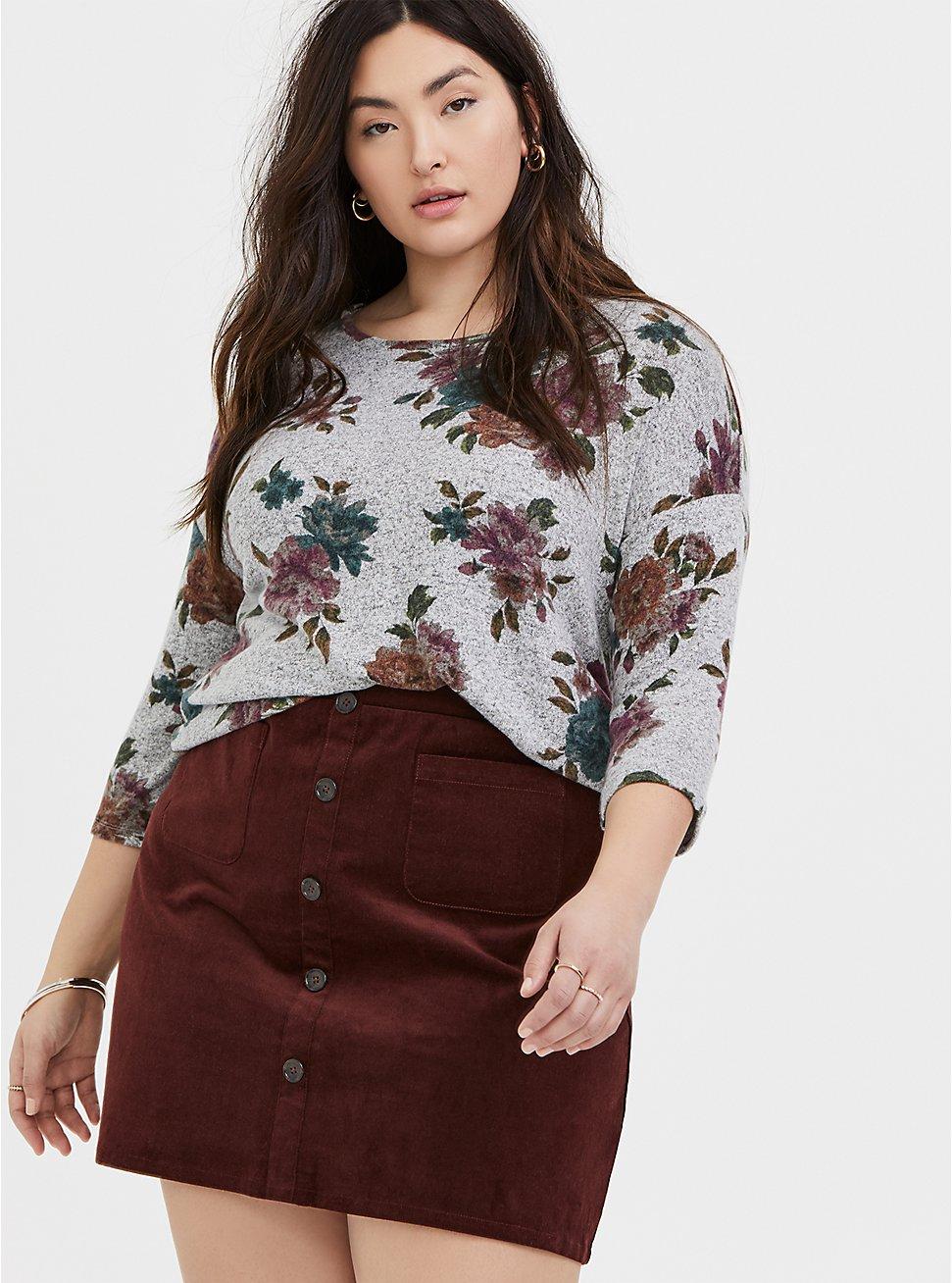 Super Soft Plush Grey Floral Top, FLORAL - GREY, hi-res