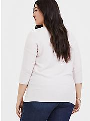Plus Size Super Soft Plush Lilac Pink Dolman Top , LILAC SNOW, alternate