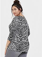 Super Soft Plush Zebra Drop Shoulder Top, ZEBRA - GREY, alternate