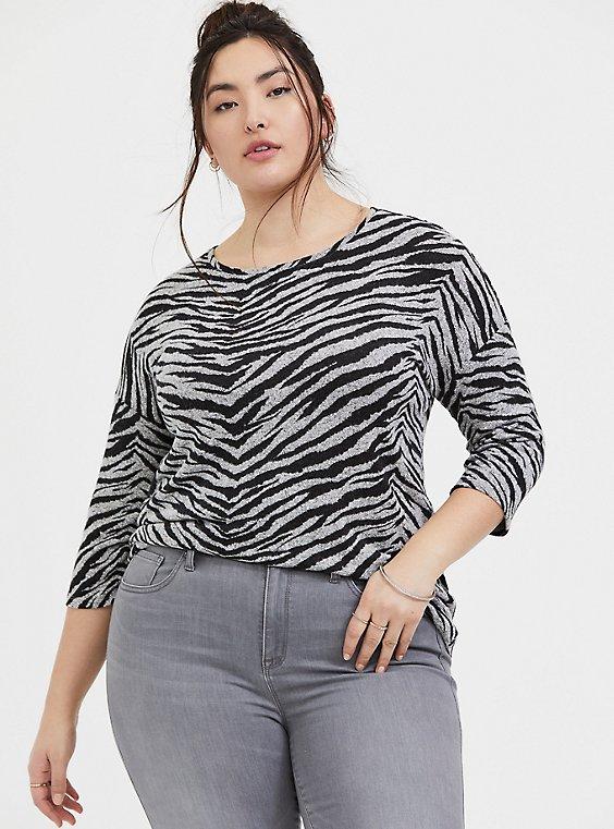 Super Soft Plush Zebra Drop Shoulder Top, ZEBRA - GREY, hi-res