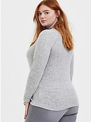 Plus Size Super Soft Plush Light Grey Turtleneck Long Sleeve Top, HEATHER GREY, alternate