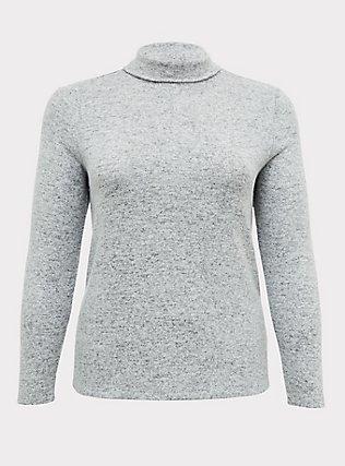 Super Soft Plush Light Grey Turtleneck Long Sleeve Top, HEATHER GREY, flat