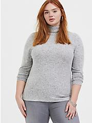 Plus Size Super Soft Plush Light Grey Turtleneck Long Sleeve Top, HEATHER GREY, hi-res