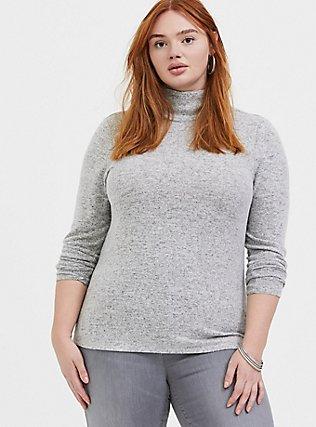 Super Soft Plush Light Grey Turtleneck Long Sleeve Top, HEATHER GREY, hi-res