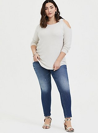 Plus Size Super Soft Plush Oatmeal Cold Shoulder Long Sleeve Tee, WIND CHIME, alternate