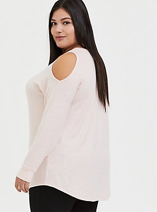 Super Soft Plush Blush Pink Cold Shoulder Long Sleeve Tee, BLOSSOM-PINK, alternate