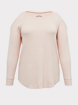 Super Soft Plush Blush Pink Cold Shoulder Long Sleeve Tee, BLOSSOM-PINK, flat