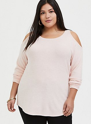 Super Soft Plush Blush Pink Cold Shoulder Long Sleeve Tee, BLOSSOM-PINK, hi-res