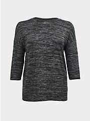 Super Soft Plush Black Marled Top, DEEP BLACK, hi-res