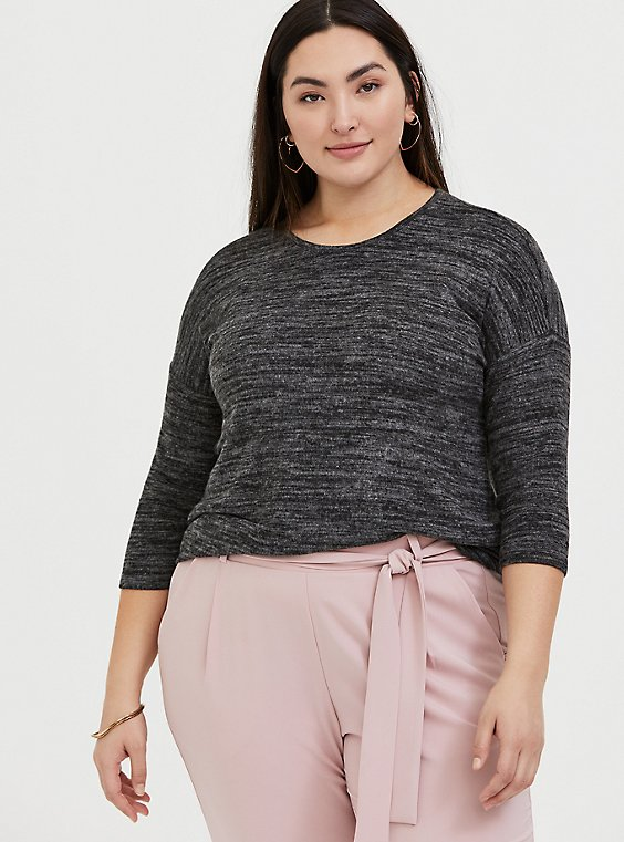 Plus Size Super Soft Plush Black Marled Top, , hi-res