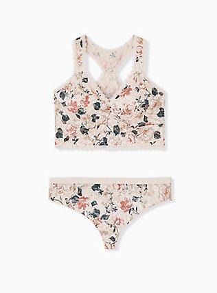 Plus Size Light Pink Floral Unlined Reacerback Bralette, TANGLED FLORAL, alternate