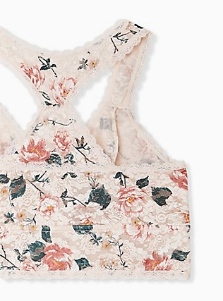 Light Pink Floral Unlined Reacerback Bralette, TANGLED FLORAL, alternate