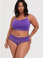 Plus Size Purple Seamless Lightly Padded Bralette, CRYSTAL BALL PURPLE, alternate