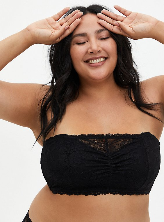 Plus Size Black Lace Lightly Padded Bandeau, , hi-res