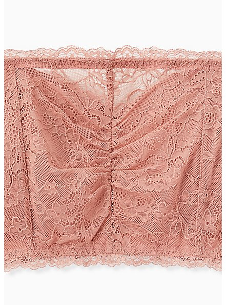 Dusty Pink Lace Lightly Padded Bandeau, ASH ROSE, alternate