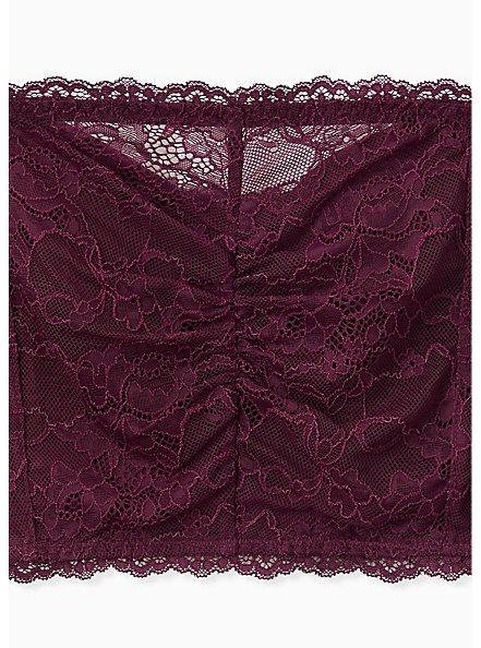 Grape Purple Lace Lightly Padded Bandeau, POTENT PURPLE, alternate