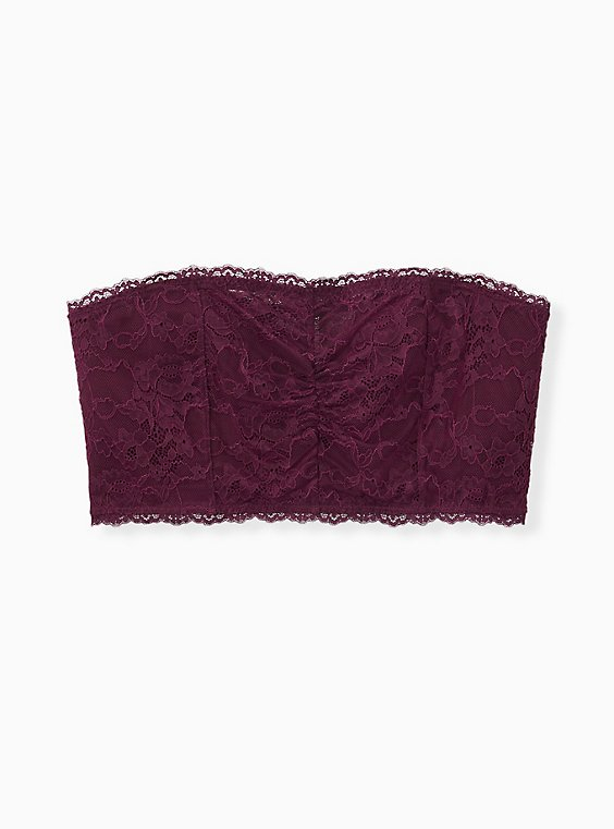 Grape Purple Lace Lightly Padded Bandeau, POTENT PURPLE, hi-res