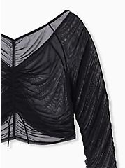 Black Mesh Drawstring Long Sleeve Under-It-All Crop Top, RICH BLACK, alternate