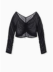 Black Mesh Drawstring Long Sleeve Under-It-All Crop Top, RICH BLACK, hi-res