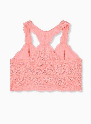 Plus Size Coral Lace Unlined Racerback Bralette, VIVID CORAL, alternate