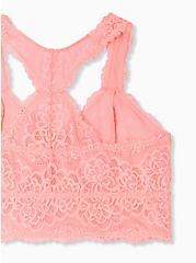 Coral Lace Unlined Racerback Bralette, VIVID CORAL, alternate