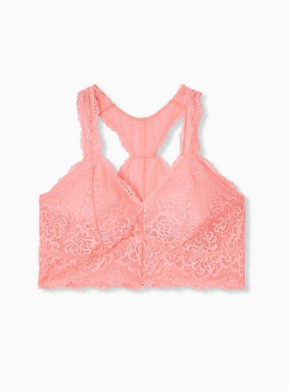 Plus Size Coral Lace Unlined Racerback Bralette, , hi-res