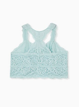 Plus Size Mint Blue Lace Racerback Bralette, HARBOR GREY, alternate