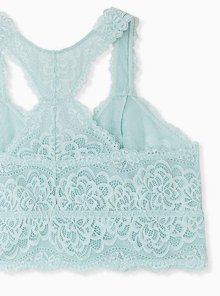 Mint Blue Lace Unlined Racerback Bralette, HARBOR GREY, alternate