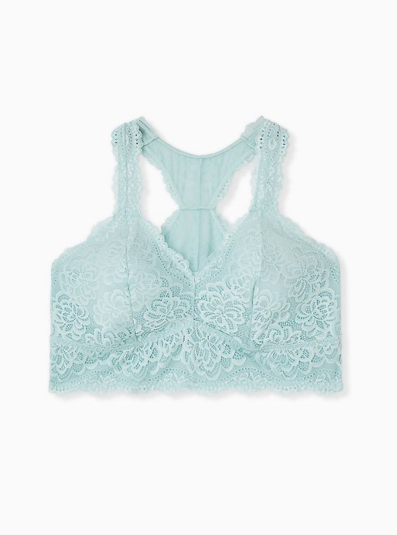 Plus Size Mint Blue Lace Unlined Racerback Bralette, , hi-res