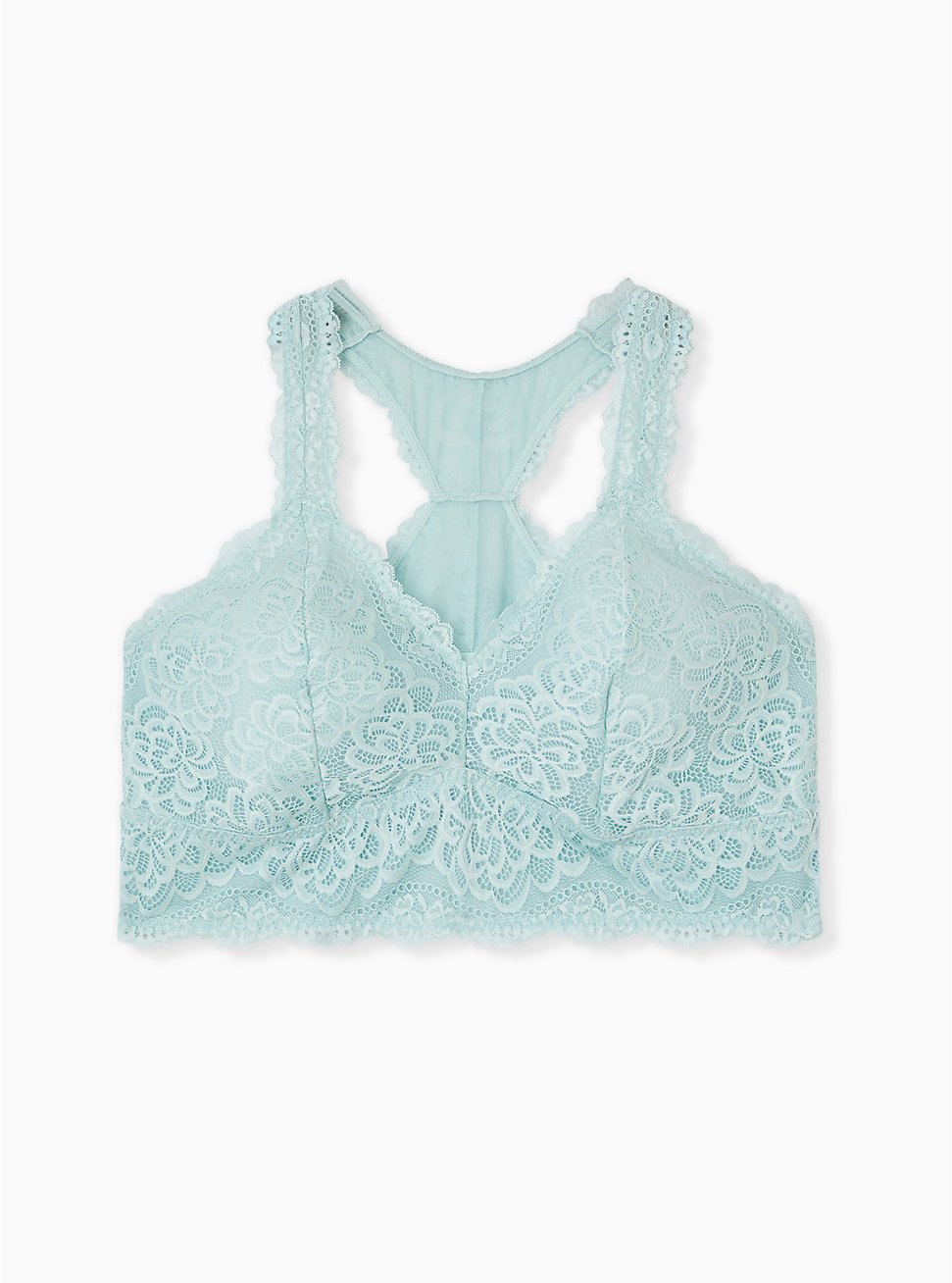 Mint Blue Lace Unlined Racerback Bralette, HARBOR GREY, hi-res