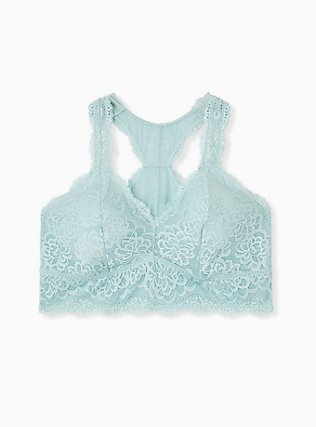 Plus Size Mint Blue Lace Racerback Bralette, HARBOR GREY, hi-res