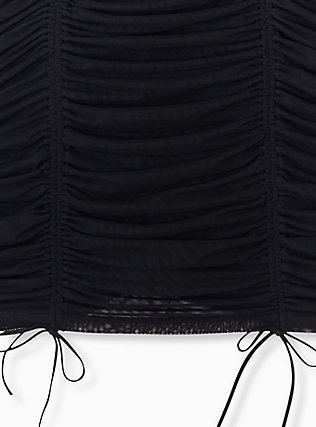 Black Mesh Mesh Drawstring Underwire Chemise, RICH BLACK, alternate