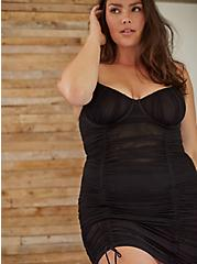 Black Mesh Mesh Drawstring Underwire Chemise, RICH BLACK, hi-res