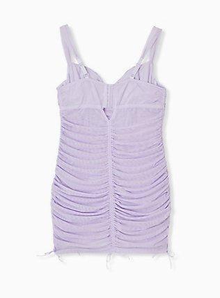 Lilac Purple Mesh Drawstring Underwire Chemise, CLOUDED OPAL LAVENDER, alternate
