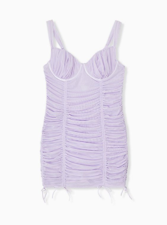 Plus Size Lilac Purple Mesh Drawstring Underwire Chemise, , hi-res