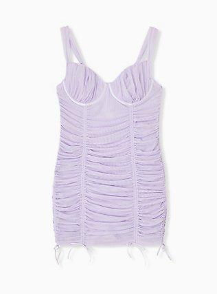 Lilac Purple Mesh Drawstring Underwire Chemise, CLOUDED OPAL LAVENDER, hi-res