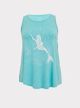 Her Universe Disney The Little Mermaid Ariel Aqua Crinkle Wash Tank, TURQUOISE  WHITE, flat