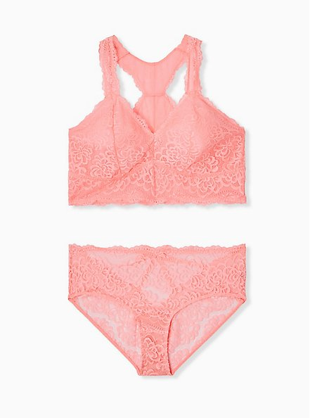 Coral Lace Cage Back Hipster Panty , VIVID CORAL, alternate