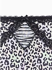 Plus Size Multi Leopard & Black Microfiber Lattice Brief Panty, AIRBRUSH LEOPARD, alternate