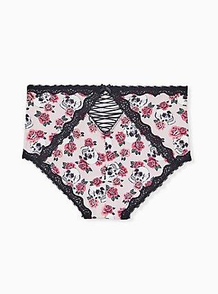 Light Pink Skull Rose Microfiber Lattice Brief Panty, SKULL ROSE TATTOO BLACK, alternate
